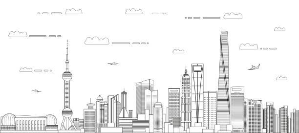 Shanghai cityscape line art style vector detailed illustration. Travel background Shanghai cityscape line art style vector detailed illustration. Travel background jin mao tower stock illustrations