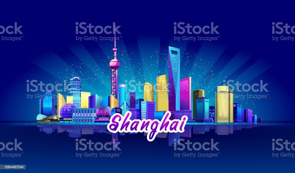 上海のネオン街 アジア大陸のベクターアート素材や画像を多数ご用意