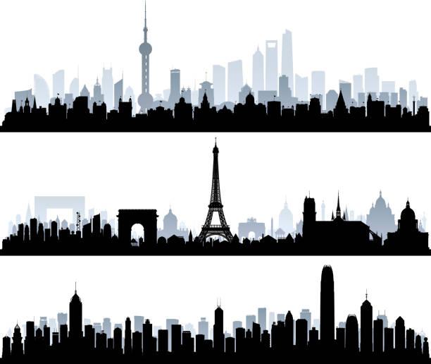 bildbanksillustrationer, clip art samt tecknat material och ikoner med shanghai, paris, hong kong (alla byggnader är komplett och rörliga) - paris
