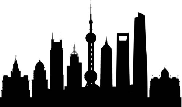 Shanghai Skyline (All Buildings Are Complete and Moveable) Shanghai skyline. All buildings are complete and moveable. oriental pearl tower shanghai stock illustrations