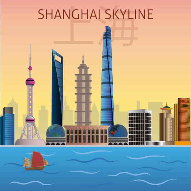 Shanghai Skyline Vector Editable vector showing the most famous buildings in the city of Shanghai, China. the bund stock illustrations
