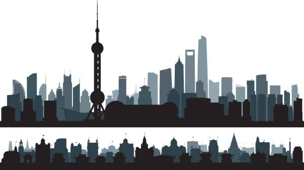 Shanghai (All Buildings are Complete and Moveable) Pudong and the Bund skylines in Shanghai. All buildings are complete and moveable. huangpu district stock illustrations