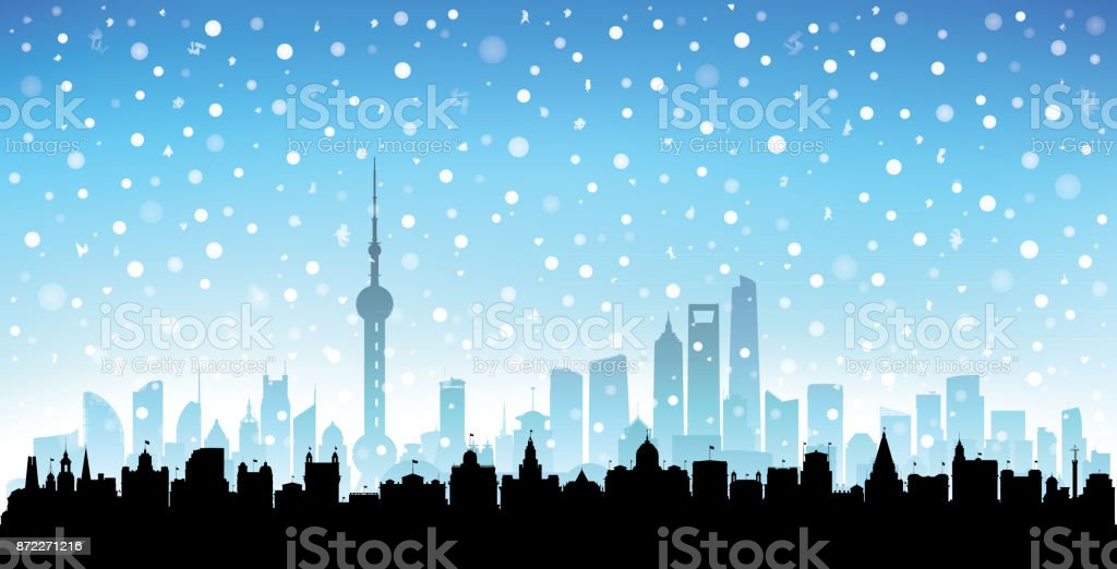 Shanghai (All Buildings Are Complete and Moveable) vector art illustration