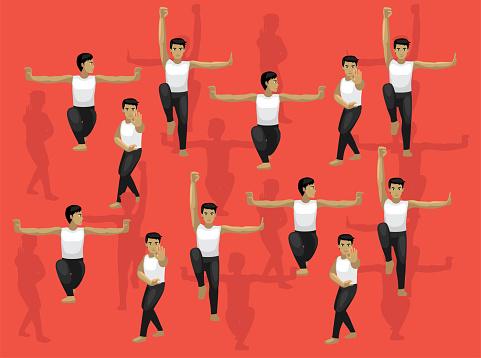 Shaolin Kung Fu Man Cartoon Character Vector Seamless Background Wallpaper  Set 2-01
