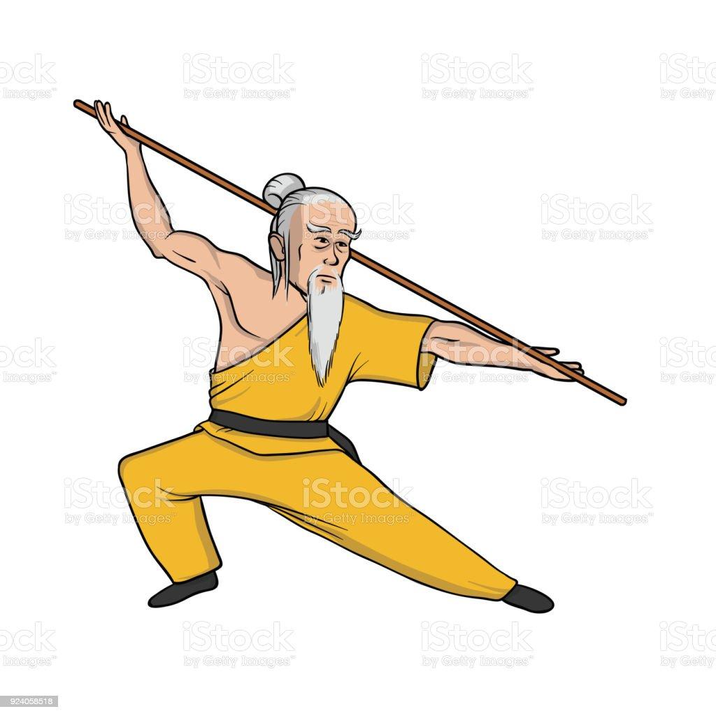 Vetores De Monge Shaolin Praticando Kung Fu Arte Marcial