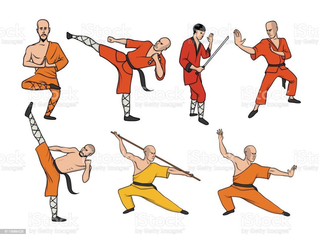 Vetores De Monges De Shaolin Praticando Kung Fu Arte Marcial