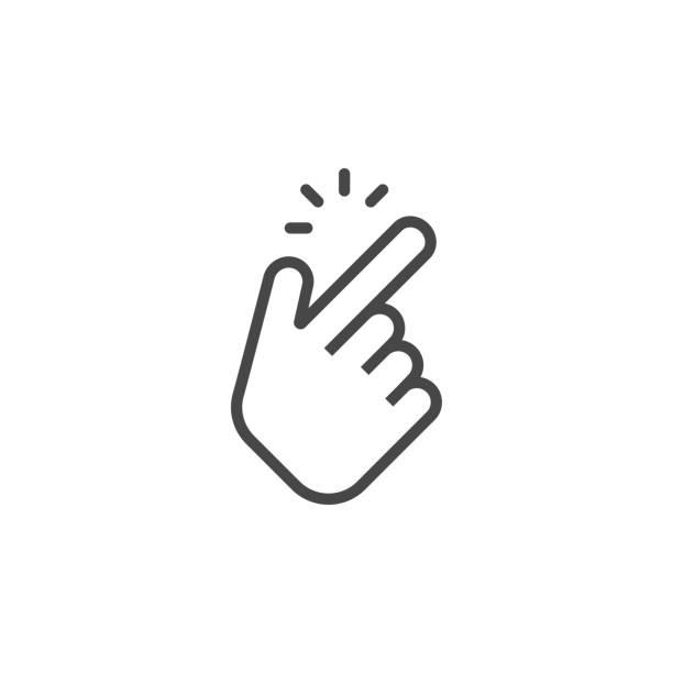 Shap finger icon. Shap finger pointer isolated on white background. Vector illustration Shap finger icon. Shap finger pointer isolated on white background. Vector illustration smooth stock illustrations