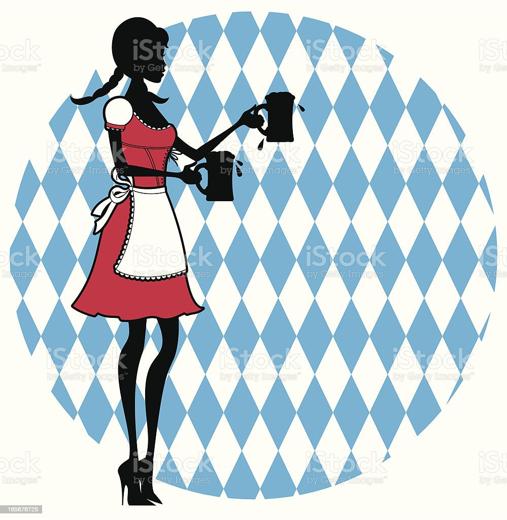 Shape of a dress Oktoberfest girl serving beers vector art illustration