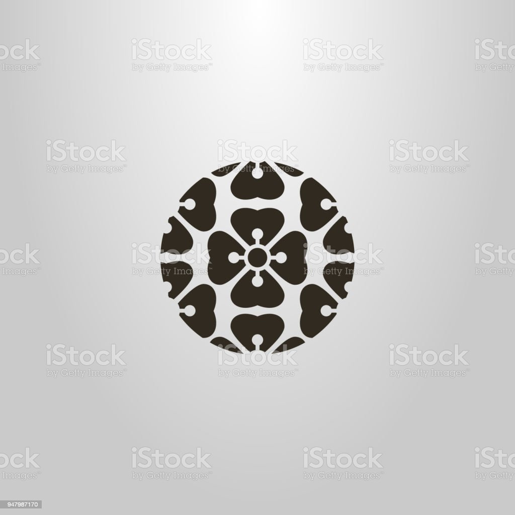 Form der abstrakten Blumen. rundes Symbol. Marken-Ikone. Logo des Musters der Blumen – Vektorgrafik