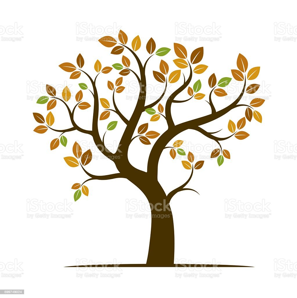 Shape of Autumn Tree. Vector Illustration. vector art illustration