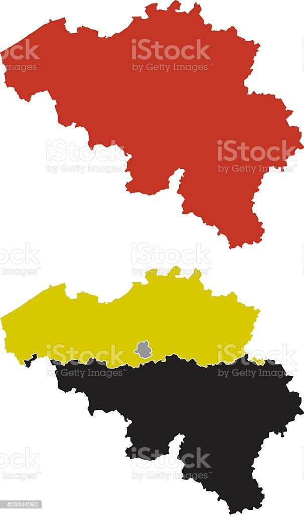 Shape of Belgium and its regions vector art illustration