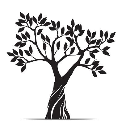 Shape of black Tree. Vector outline Illustration. Plant in Garden.