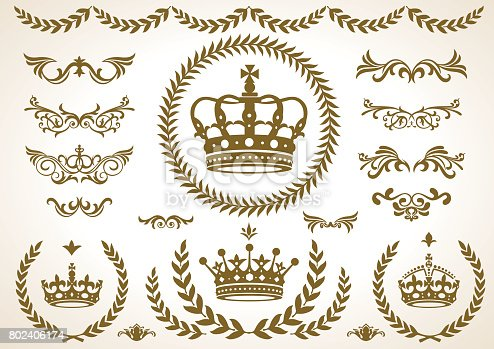 istock 4 shape of Crown laurel icon, vector 802406174