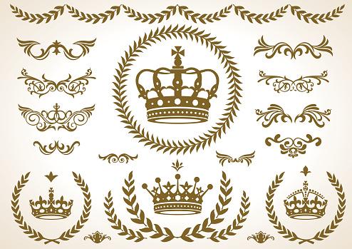 4 shape of Crown laurel icon, vector
