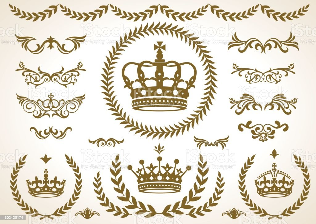 4 shape of Crown laurel icon, vector vector art illustration