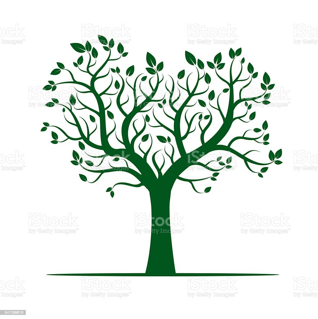 Shape of Green Tree. Vector Illustration. vector art illustration