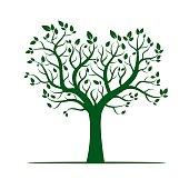 Shape of Green Tree. Vector Illustration.
