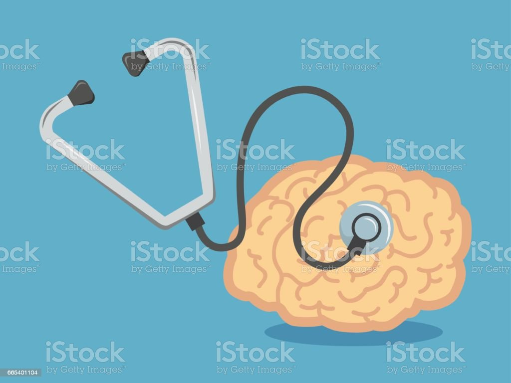 Shape of human brain as organ, which is head of stethoscope.vector illustration. vector art illustration