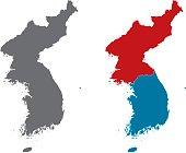 Shape of Korean Peninsula and North Korea and South Korea