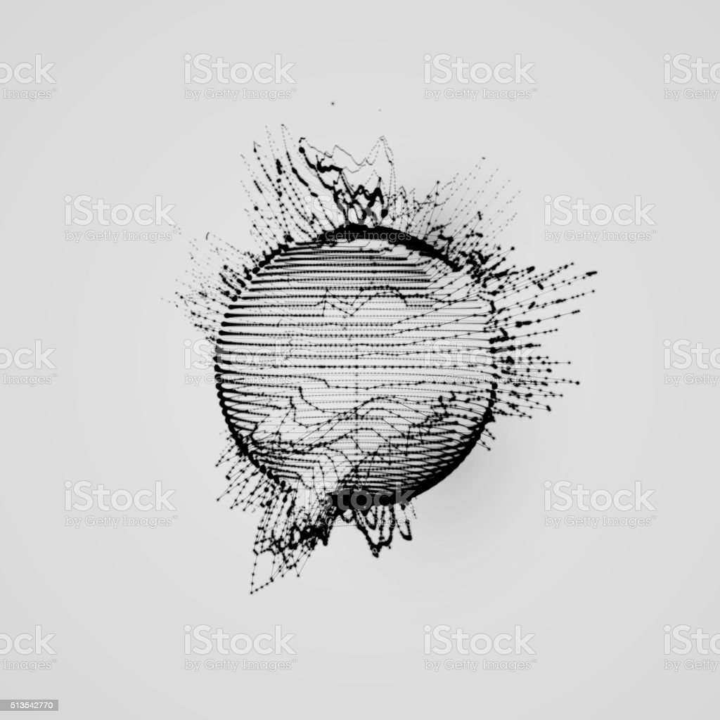 3d Shape Of Particles Array Wireframe And Splashes Stock