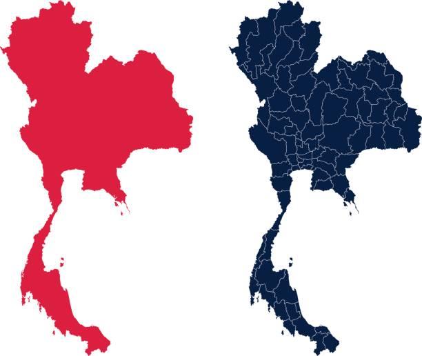 stockillustraties, clipart, cartoons en iconen met vorm van thailand en de provincies - thailand