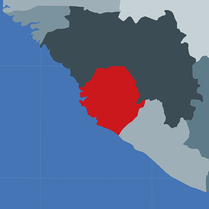 Shape of the Sierra Leone in context of neighbour countries.