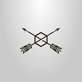 shape of two arrows piercing hexago. black and white icon. frameless target hit icon