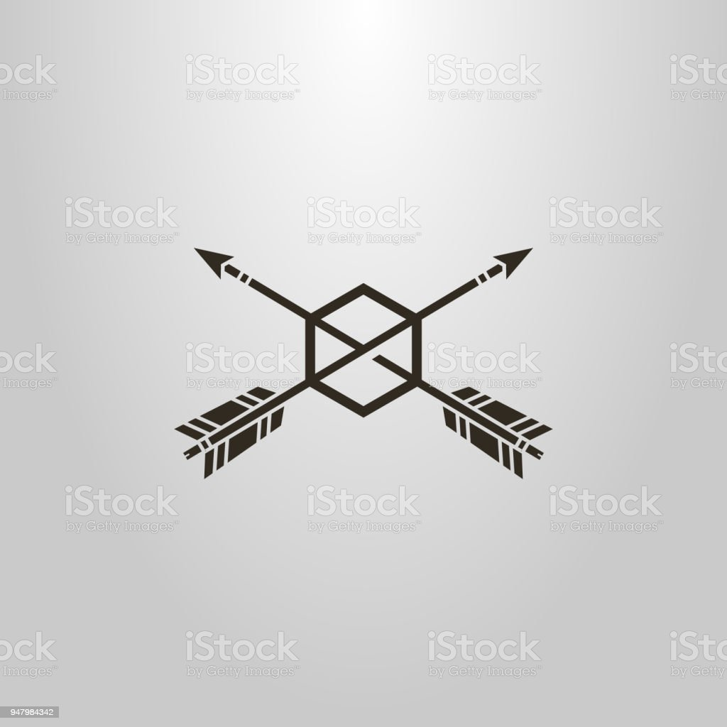 shape of two arrows piercing hexago. frameless target hit icon vector art illustration