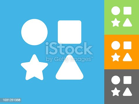 Shape Toys  Flat Icon on Blue Background. The icon is depicted on Blue Background. There are three more background color variations included in this file. The icon is rendered in white color and the background is blue.