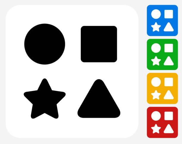 bildbanksillustrationer, clip art samt tecknat material och ikoner med shape toys icon flat graphic design - förskolebyggnad