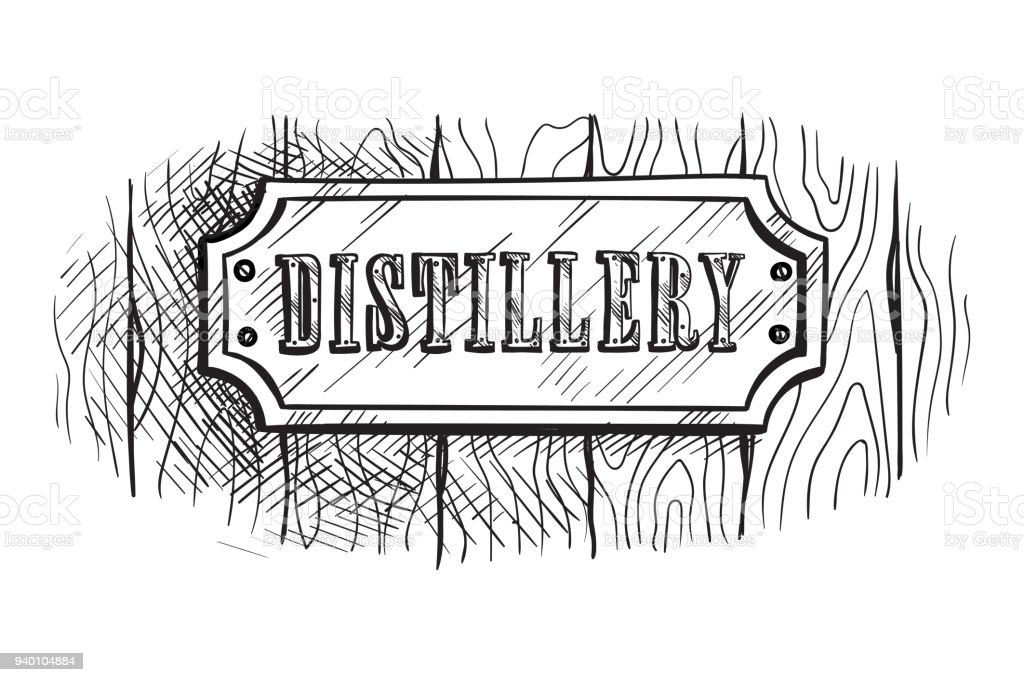 shape wooden sign board with distillery vector art illustration