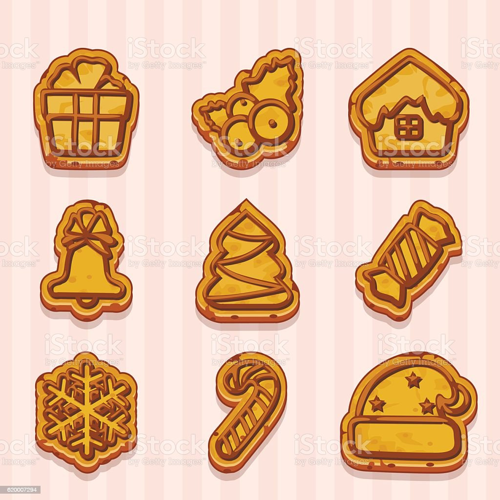shaped cookies for Christmas and New Year vector art illustration