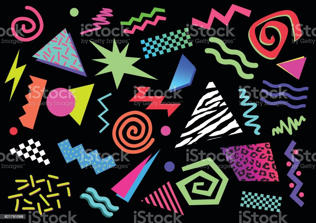 Shapes from the eighties and nineties vector art illustration