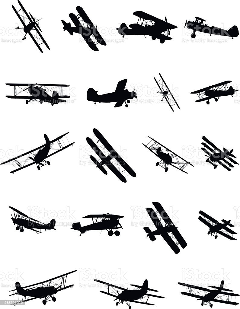 Shapes of biplanes vector art illustration