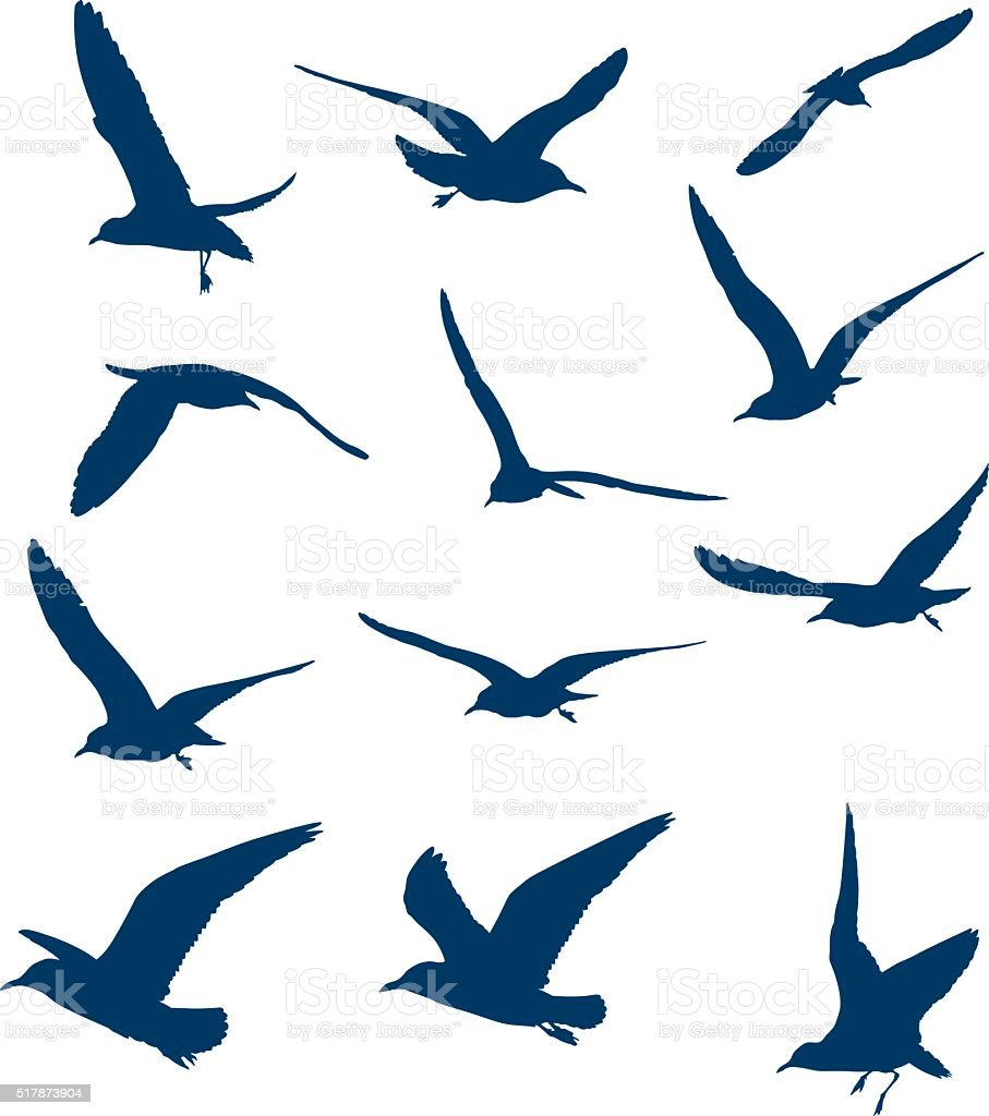 Shapes of flying seagulls vector art illustration