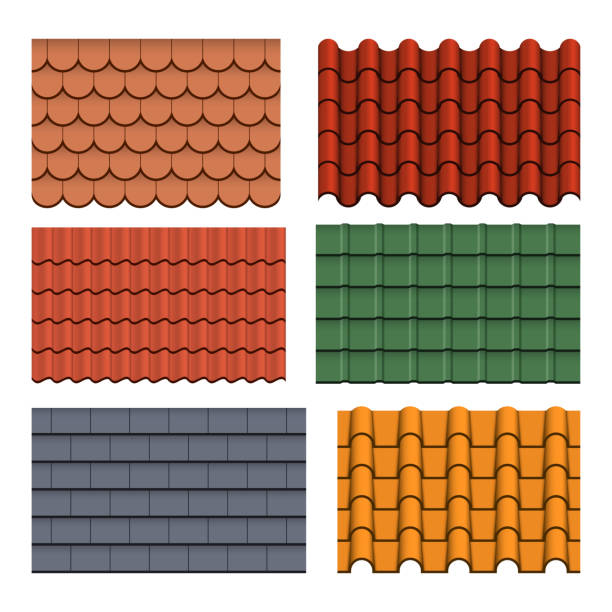 Shapes or profiles of roof tiles vector art illustration