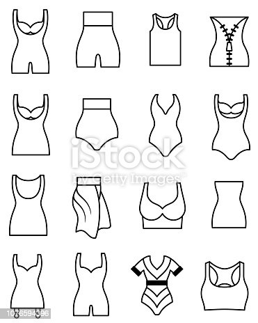 Single color black editable outline icons of shapewear and undergarments. Isolated.