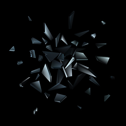 Shards of broken glass. Abstract explosion. Vector background
