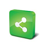 Share 3d Rounded Corner Green Vector Icon Button