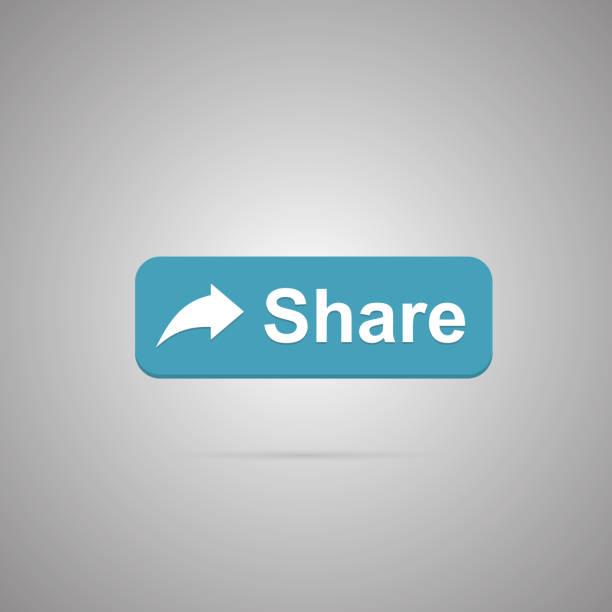 stockillustraties, clipart, cartoons en iconen met deelknop pictogram met schaduw - aandelen