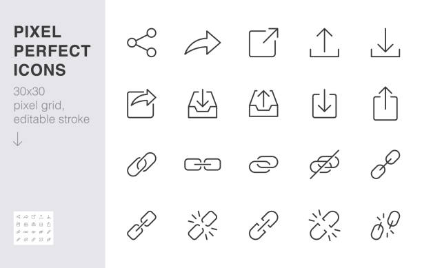 share button line icon set. link, broken hyperlink, download, publish, attach chain minimal vector illustrations. simple outline signs for web application url. 30x30 pixel perfect. editable strokes - wspólnie korzystać stock illustrations