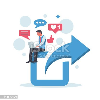 Share concept. Sharing posts in social networks. Man with laptop is sitting on a larger symbol. Social media flat icon. Online repost. Vector illustration cartoon design. Isolated on white background.