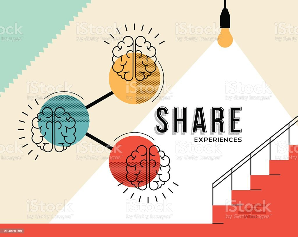 Share experiences concept with human brain design vector art illustration