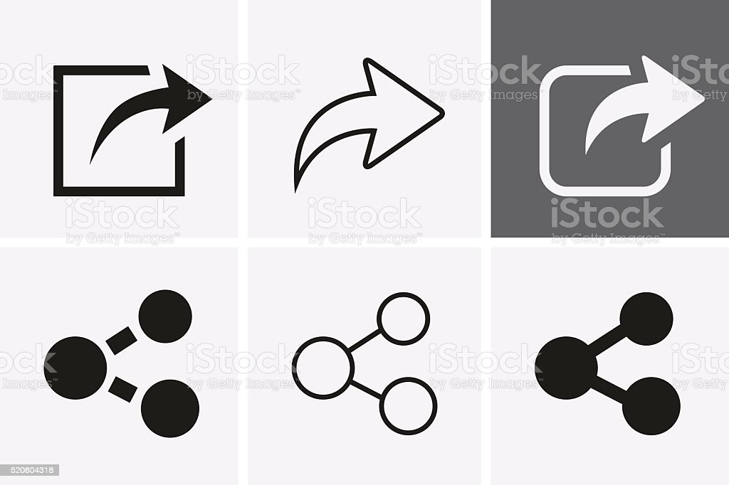 Share Icons. vector art illustration