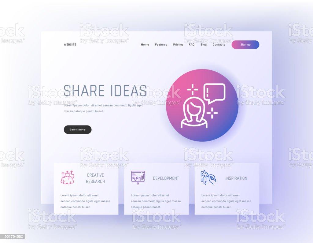 Ilustración de Compartir Ideas Plantilla De Página De Aterrizaje De ...