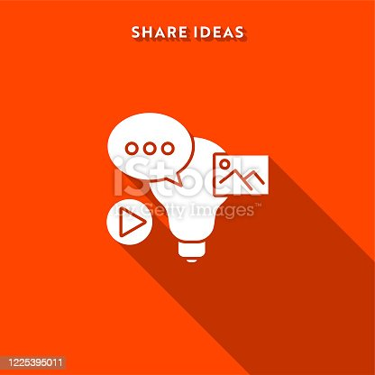 istock Share Ideas Icon with Long Shadow and Pixel Perfect. 1225395011