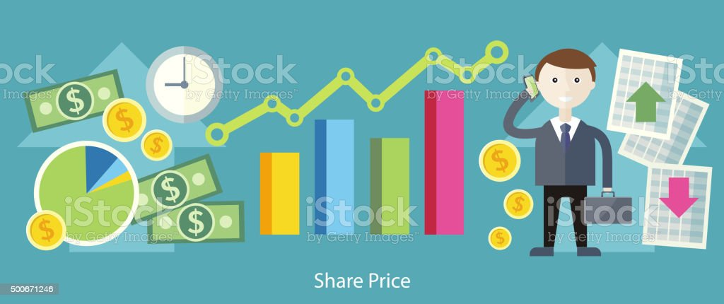 Share Price Exchange Concept Design vector art illustration