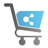 Share shopping cart flat icon. Shopping trolley with share button vector illustration isolated on white. Purchase share gradient style design, designed for web and app. Eps10