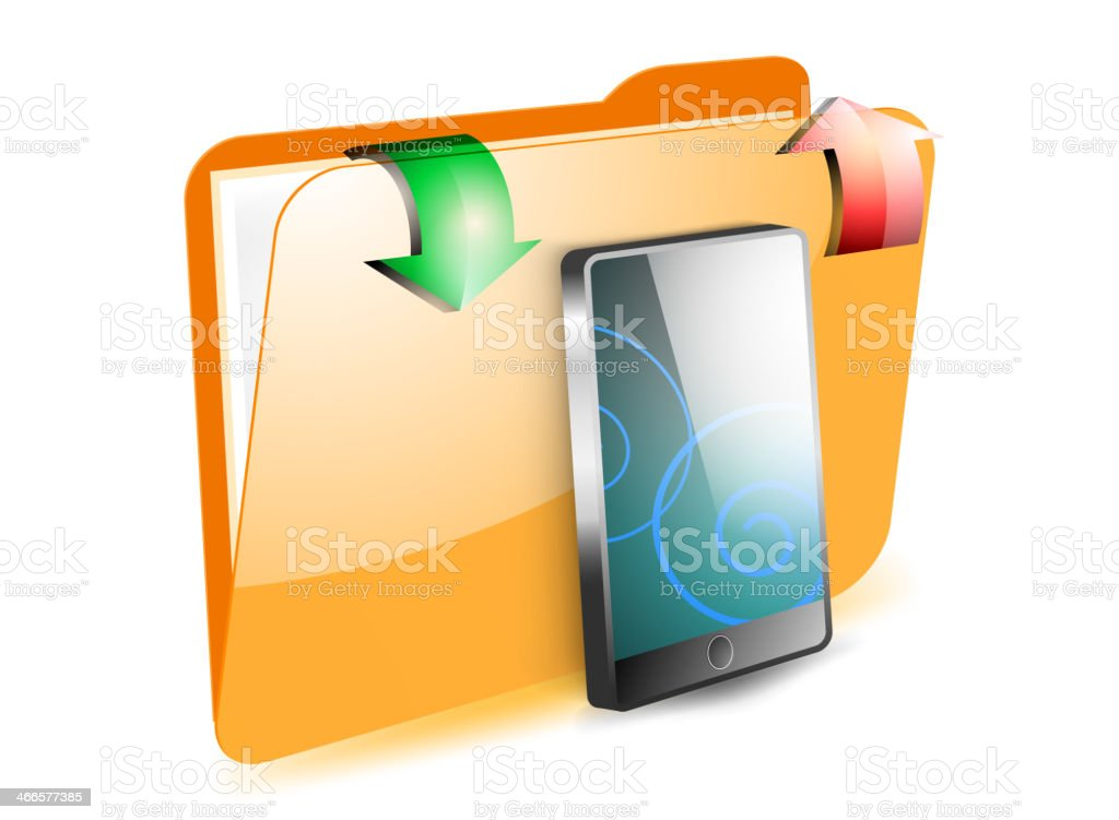 Share smartphone on folder royalty-free share smartphone on folder stock vector art & more images of angle