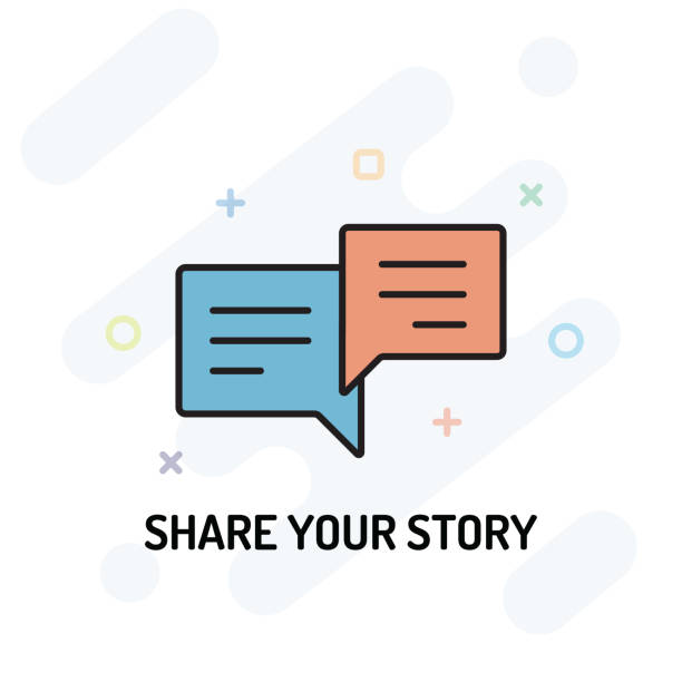 Share Your Story Flat Line Design Share Your Story Flat Line Design storytelling stock illustrations